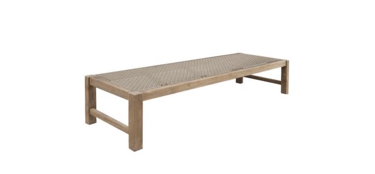 A Gazzoni Reclaimed Teak Bench is \$799 at Teak Warehouse.