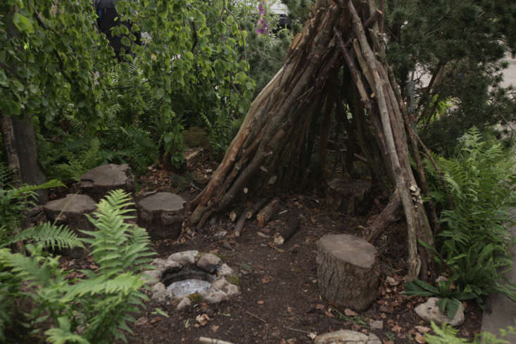 A wigwam on the Back to Nature Garden sponsored by the Royal Horticultural Society and co-designed by Duchess Kate.