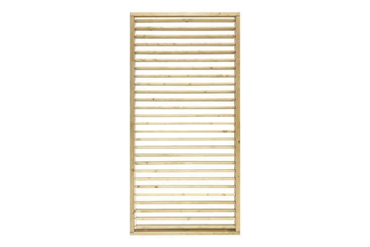 The Grange Adjustable Slat Garden Screen is a Venetian effect slatted screen with slats that open and close; £6.65 at Kebur.