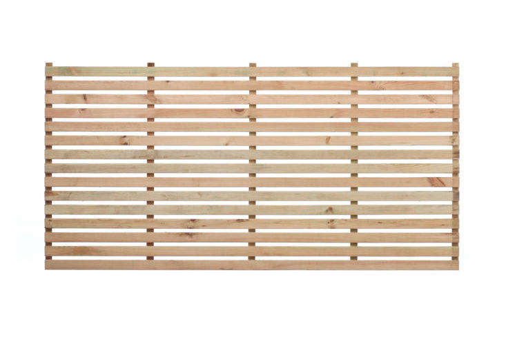 The Wide Slatted Panel from The Garden Trellis Co. comes in a natural unpainted finish (shown) or in stained or painted wood; £ to £59 depending on length.