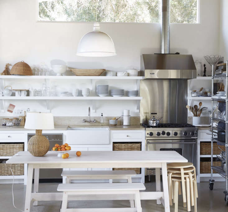 Keep lightweight stools, like the Frosta stools from Ikea (at right), for unexpected dinner guests. See the rest of this summery kitchen in Kitchen of the Week: A Photographer's Flexible Studio Kitchen in Ojai Valley (And an Outdoor Shower, Too). Photograph by Victoria Pearson.