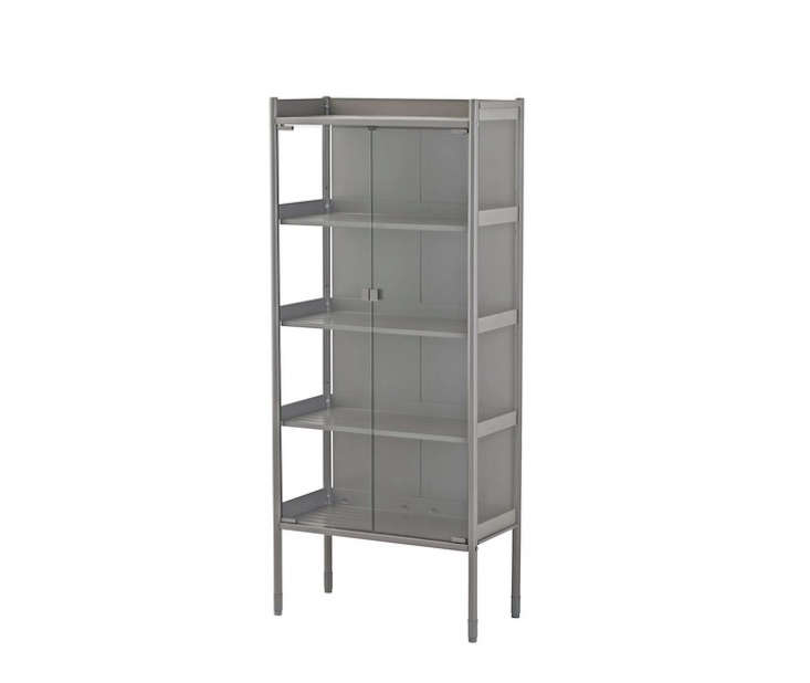 Ikea&#8\2\17;s HINDÖ greenhouse cabinet can be used to store gardening essentials or to grow veggies and herbs; \$99.