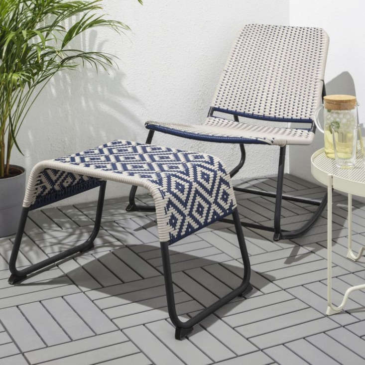 The ÖVERALLT rocking chair and stool are \$79 and \$44.99.