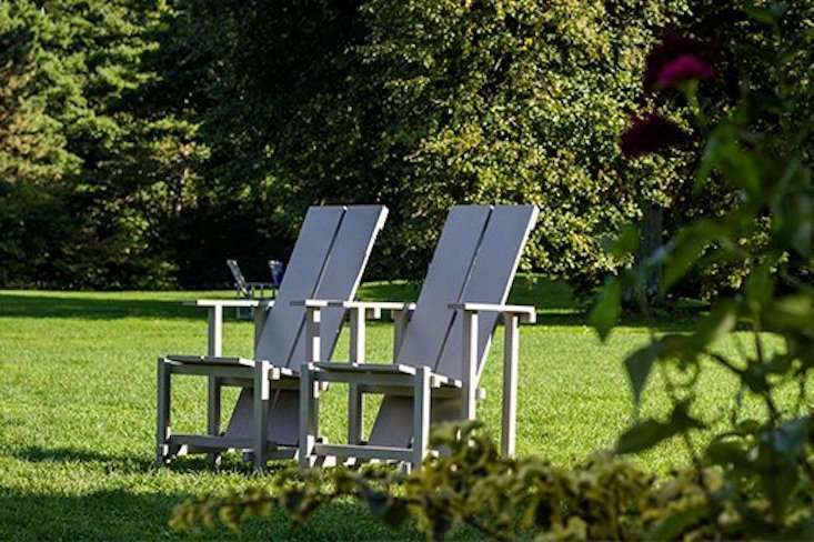 The beauty of these chairs is that you can use cheap store-bought planks to build them and paint them in the color of your choosing. To purchase the plans, contact The Shop at Wave Hill at7.549.30 x9, or emailchairinquiry@wavehill.org.