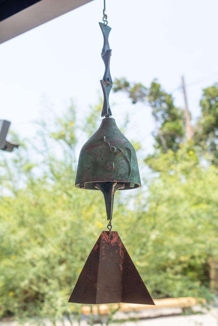 A beautiful Cosanti Wind Bell hangs from architect Takashi Yanai&#8