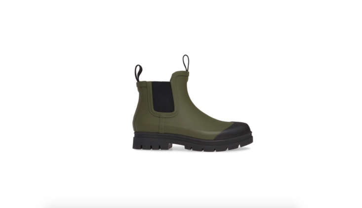 Everlane&#8\2\17;s Rain Boot comes in five colors, including this olive green; \$75.