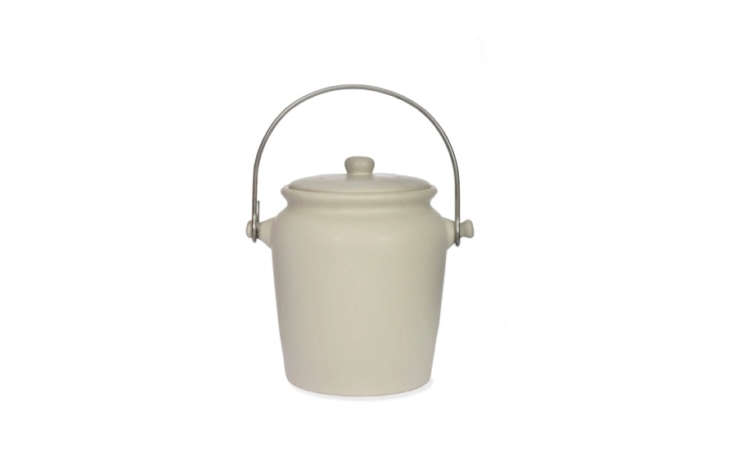 The elegant ceramic Compost Crock from Garden Trading looks almost like a cookie jar; £35.