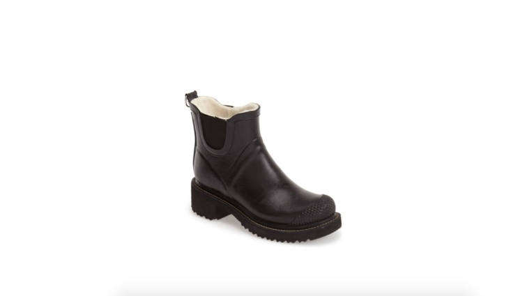 Ilse Jacobsen&#8\2\17;s clunky-chic, completely vegan Short Waterproof Rain Boot is handcrafted using natural rubber from renewable resources.; \$\2\18.95 at Nordstrom.