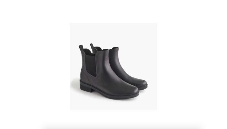 J.Crew&#8\2\17;s version of the Chelsea Rain Boot is \$68. It comes in matte black (shown) and olive.