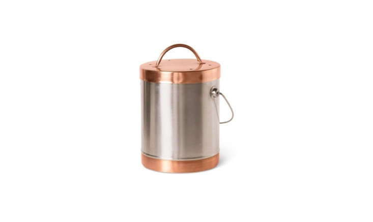 For a more modern look, try this Mixed Metals Compost Crock with copper and stainless steel parts; \$\29.95 at Gardener&#8\2\17;s Supply Company.