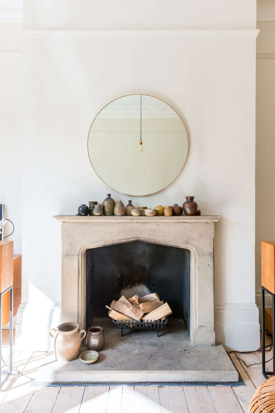 A much coveted feature for fall—the handsome old fireplace. Photograph courtesy of The Modern House, from English Translation: A Compact Victorian Gets an Eclectic but Cohesive Makeover.