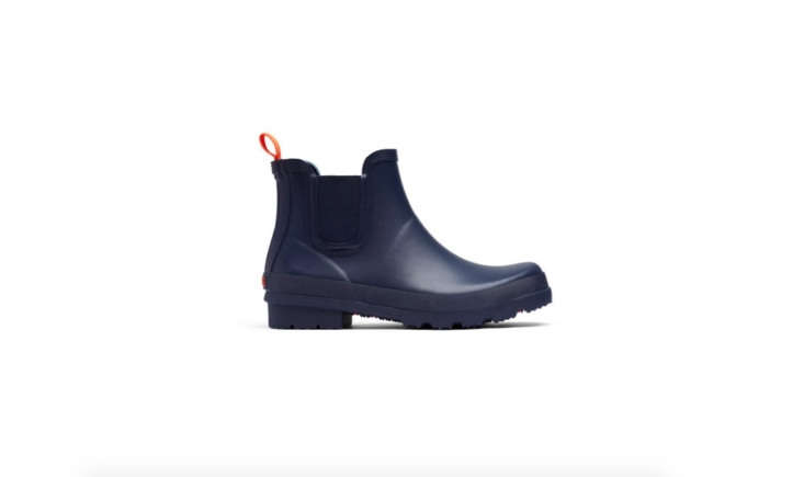 Swims&#8\2\17; minimalist Charlie Boot has a jaunty orange loop at the back of each shoe. It&#8\2\17;s available in navy (shown), black, and taupe; \$\1\20.