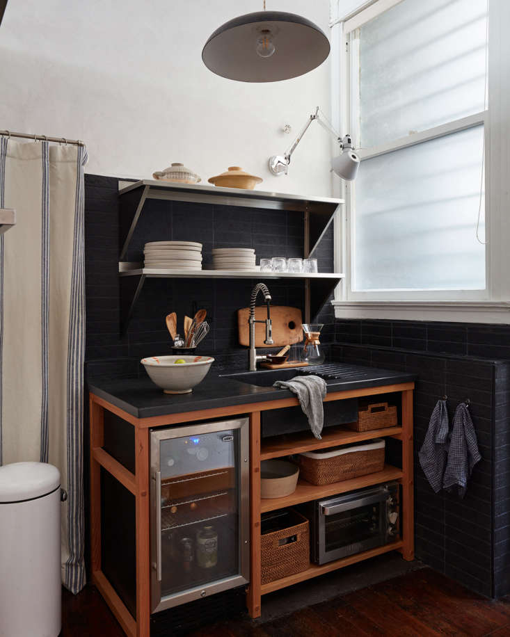 Fan shares the seriously stylish and impressively hard-working office kitchenette designed by Landed Interiors. Photography by Mariko Reed, from Steal This Look: A Small, Chic Kitchenette for a Creative Studio in SF.