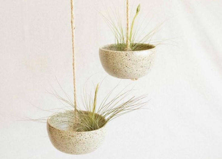 These Hanging Ceramic Planters by Kat & Roger measure about 7.5-inches across and have a small drainage hole; $95 at General Store.