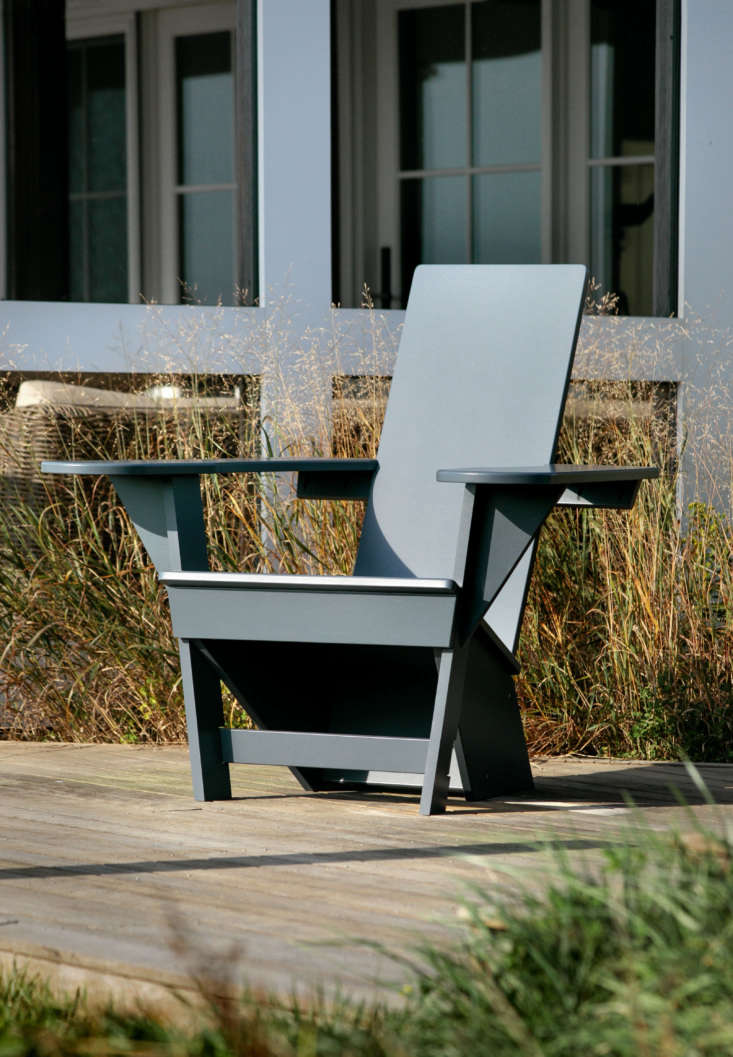 Outermost Chairs come in a variety of updated coastal hues including: Dock Gray, Outermost Blue, natural mahogany, and white. Custom colors also available by special order.
