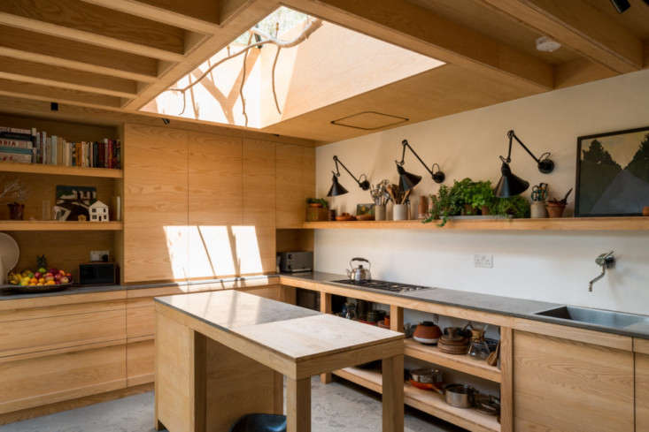 A compact \14-by-\10-foot kitchen that prioritizes storage. Photograph courtesy of The Modern House, from Kitchen of the Week: A London Architect's Sky-Lit Compact Kitchen.