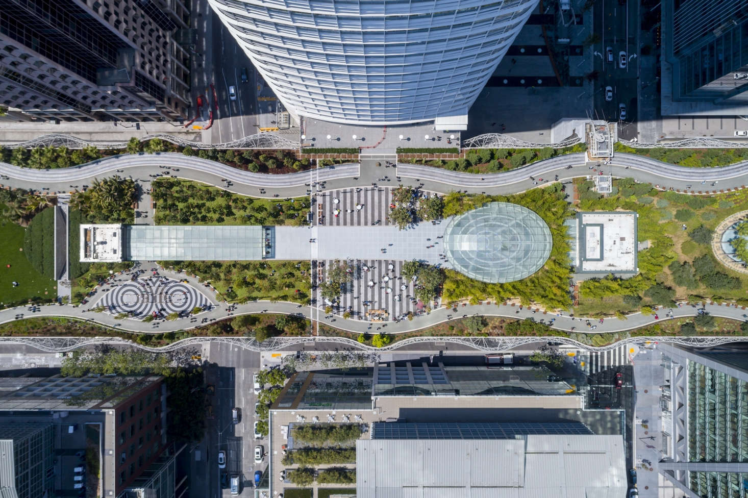 An aerial view of Salesforce Park, which spans 5.4 acres. Photograph by Tim Griffith.