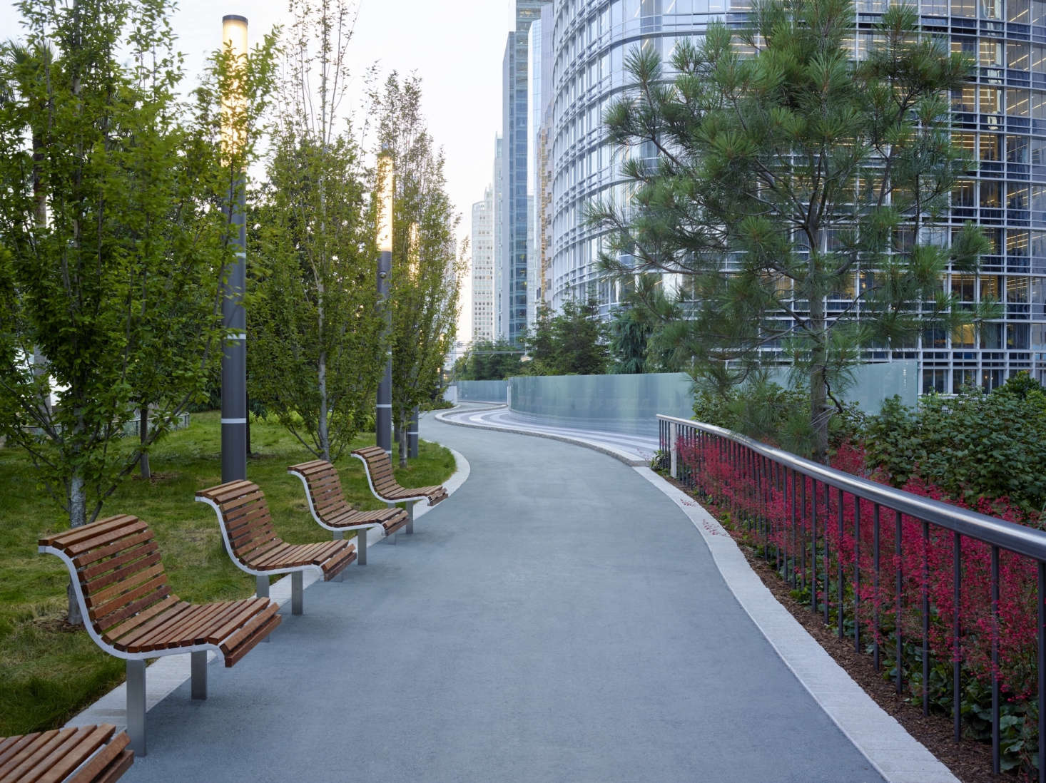 The main path, with resting benches throughout, runs around the park. Photograph by Marion Brenner.
