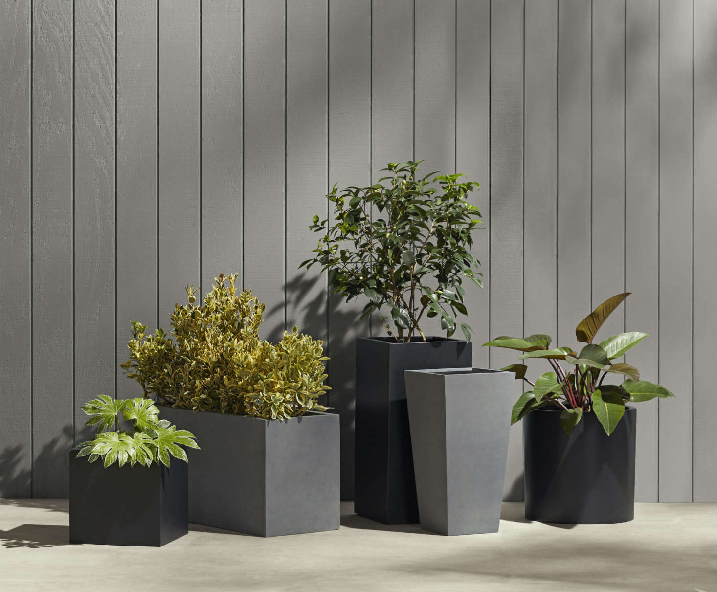 """These industrial-style planters only look metal—but they're actually made of lightweight, frost-proof fiberstone composite. They're available in black or grey as well as a variety of sizes and shapes; we like the Modern Fiberstone Square Planter ($9; far left) and the long, low Modern Fiberstone Rectangle Planter ($9; second from left) for separating outdoor """"rooms"""" on a patio."""