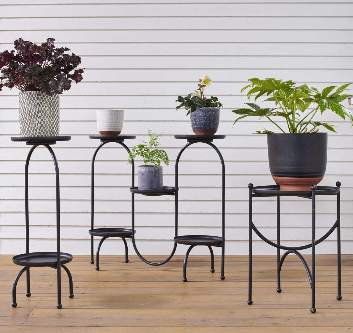 Rejuvenation's got plant stands, too. Mix and match any of their petite planters on these Scandinavian-inspired Black Tray Plant Stands—available in one-tray ($9), two-tray ($src=