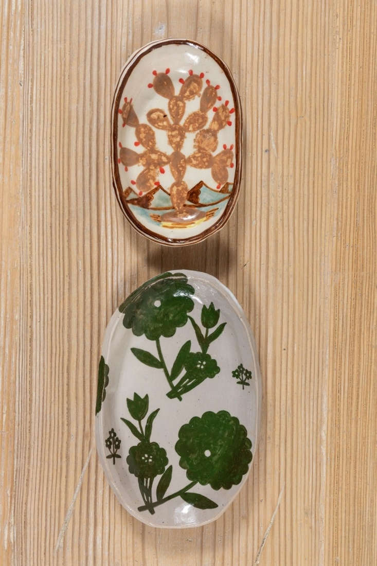 Granted, \$\1\10 is mighty steep for a Soap Dish, but look at how gorgeous these Rebekah Miles pieces are. You can find these hand-painted plant-themed specimens at Nickey Kehoe.