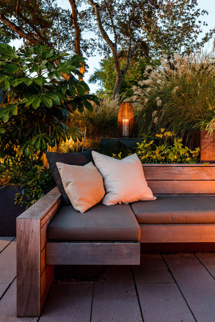 The cushions are made with Sunbrella textiles by La Fabrique.