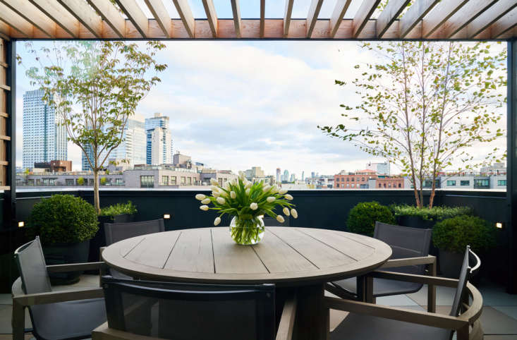 Brook had a pergola and trellis built for &#8\2\20;softening and shade&#8\2\2\1; on the roof terrace. Potted river birch and dogwood trees anchor two corners. The dining set is from Restoration Hardware.