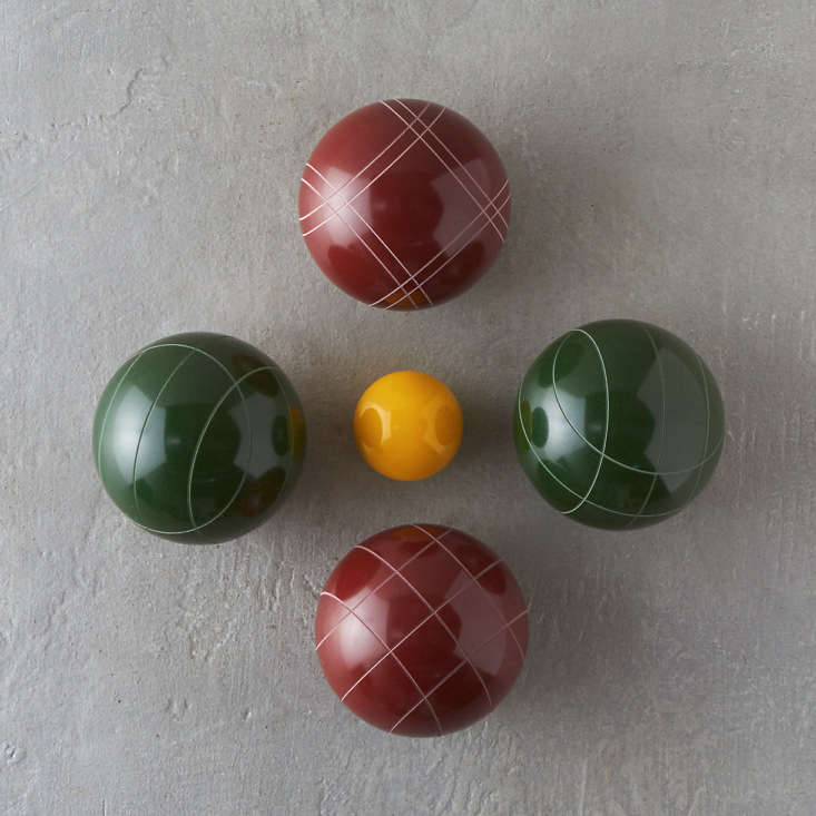 This Backyard Bocce Set includes eight resin balls, one resin jack ball, a rule book, and a pine carrying case; $8 at Terrain.
