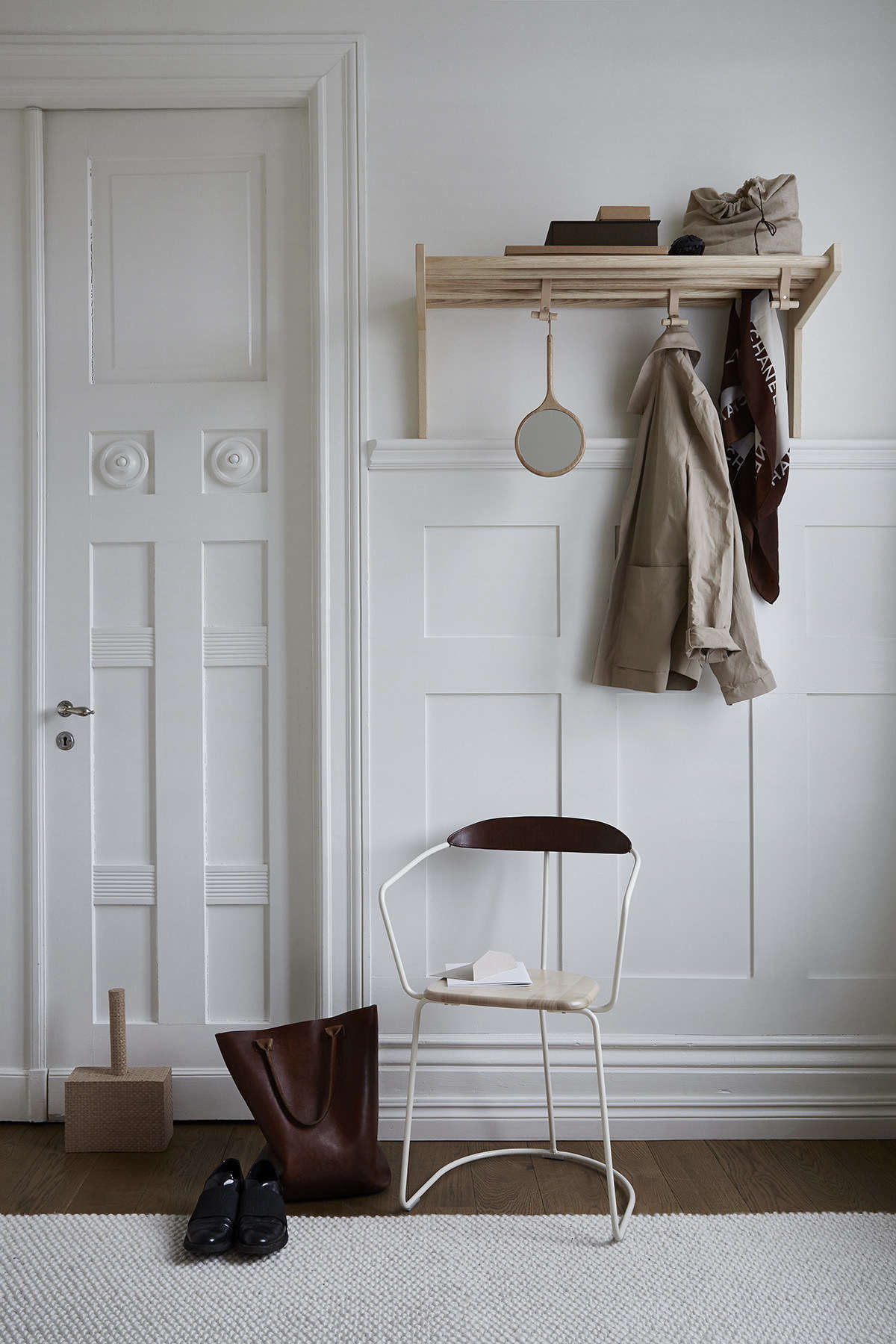 A simple hat rack by an eco-conscious Swedish company brings beautiful organization to a front entry. See more of its artful storage goods in Currently Coveting: Swedish Wood and Leather Designs from an Eco-Conscious Tannery.