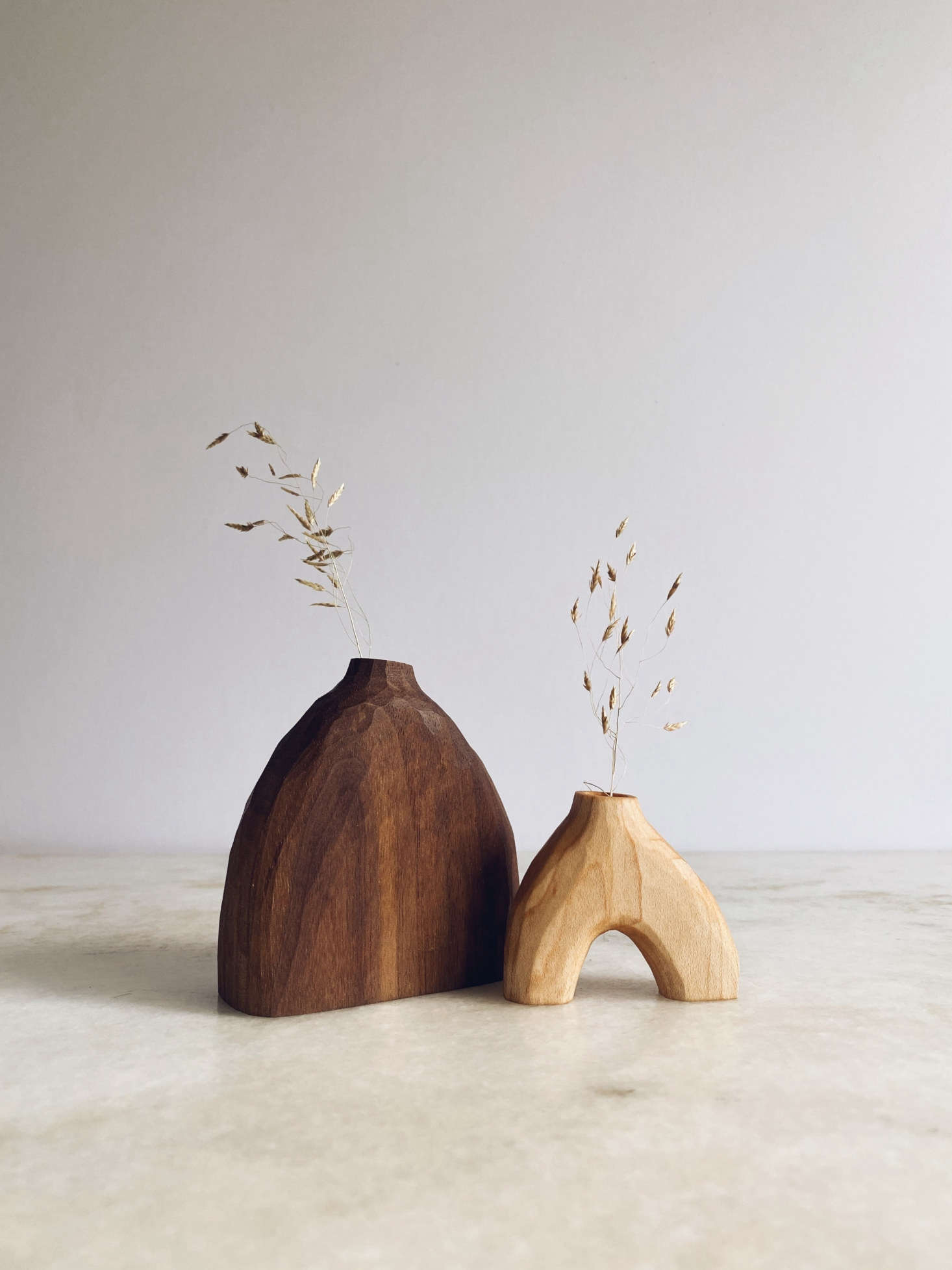We love these hand-carved wooden vases by Grain and Knot. See Currently Coveting: London Artist Sophie Sellu's Functional Wood Sculptures.
