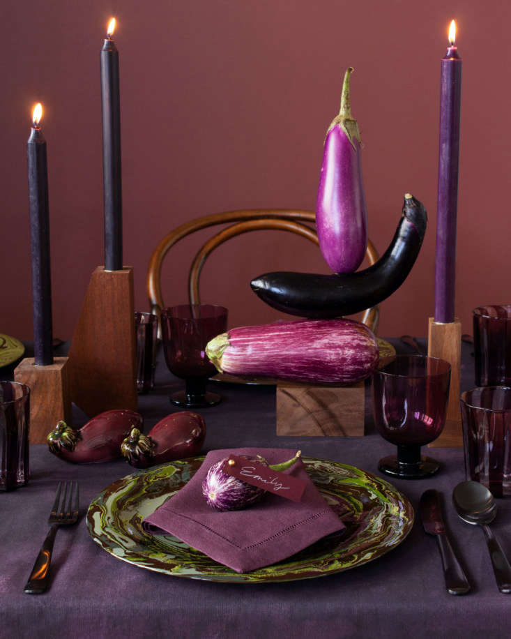&#8\2\20;Finish off your still life with candles in dark purple, embracing the under-appreciated but oh-so-stunning hue of autumn: aubergine.&#8\2\2\1; The striped amethyst glassware is by LagunaB.