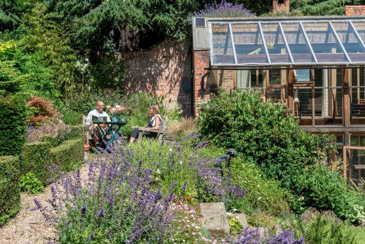 While much of the garden was designed to encourage play and creativity, there are also ample areas for rest and contemplation, like this nook, what Anna calls their &#8