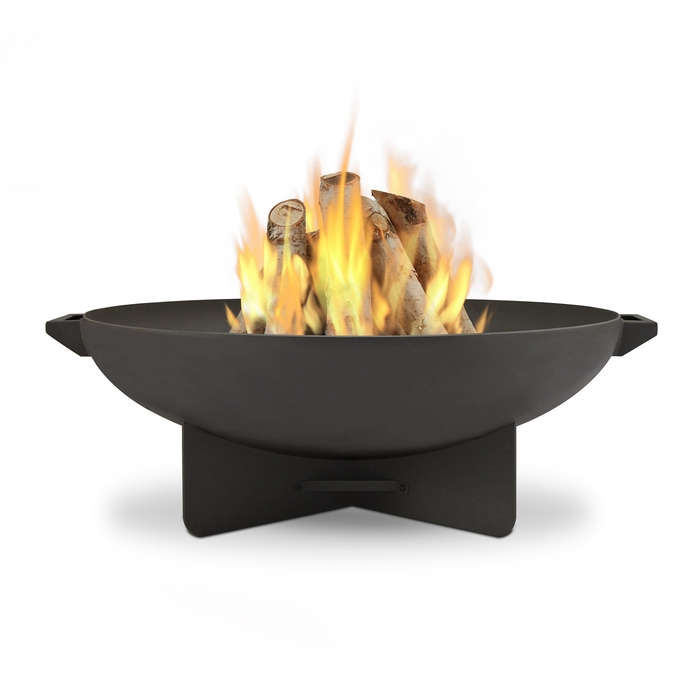 The Anson Wood Burning Fire Bowl, in a gray finish, comes with spark screen, log poker tool, grate, and protective storage cover; \$4\15.65 from PortableFireplace.com.