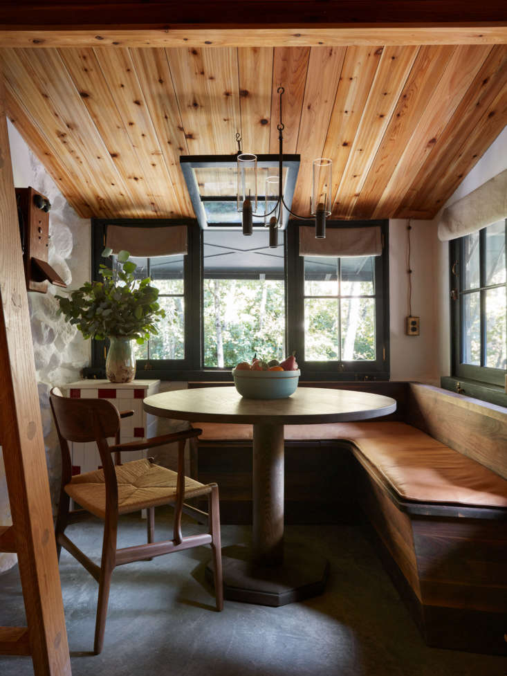 Ever wonder what the design savants at Commune would do with a cabin in the woods? (Hint: the results are impeccable.) Photograph by Stephen Kent Johnson, courtesy of Commune Design, from A Hollywood Director's Refined Off-the-Grid Cabin by Commune Design.