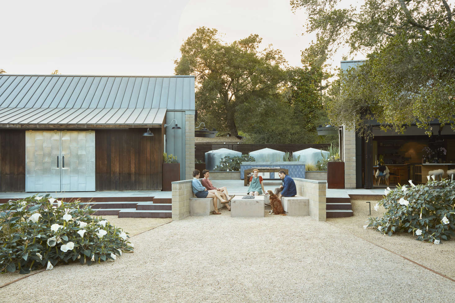 """The patio shown above is in between the guest and main house. Story and her team cleverly made use of the water tanks in the design. """"We used the emergency galvanized water tanks as a backdrop for a mix of xeric plants with an emphasis on form—spoon yucca and deer grass rub elbows with opuntia and sacred datura,"""" Story explains. (See The Garden Decoder: What Is &#8"""