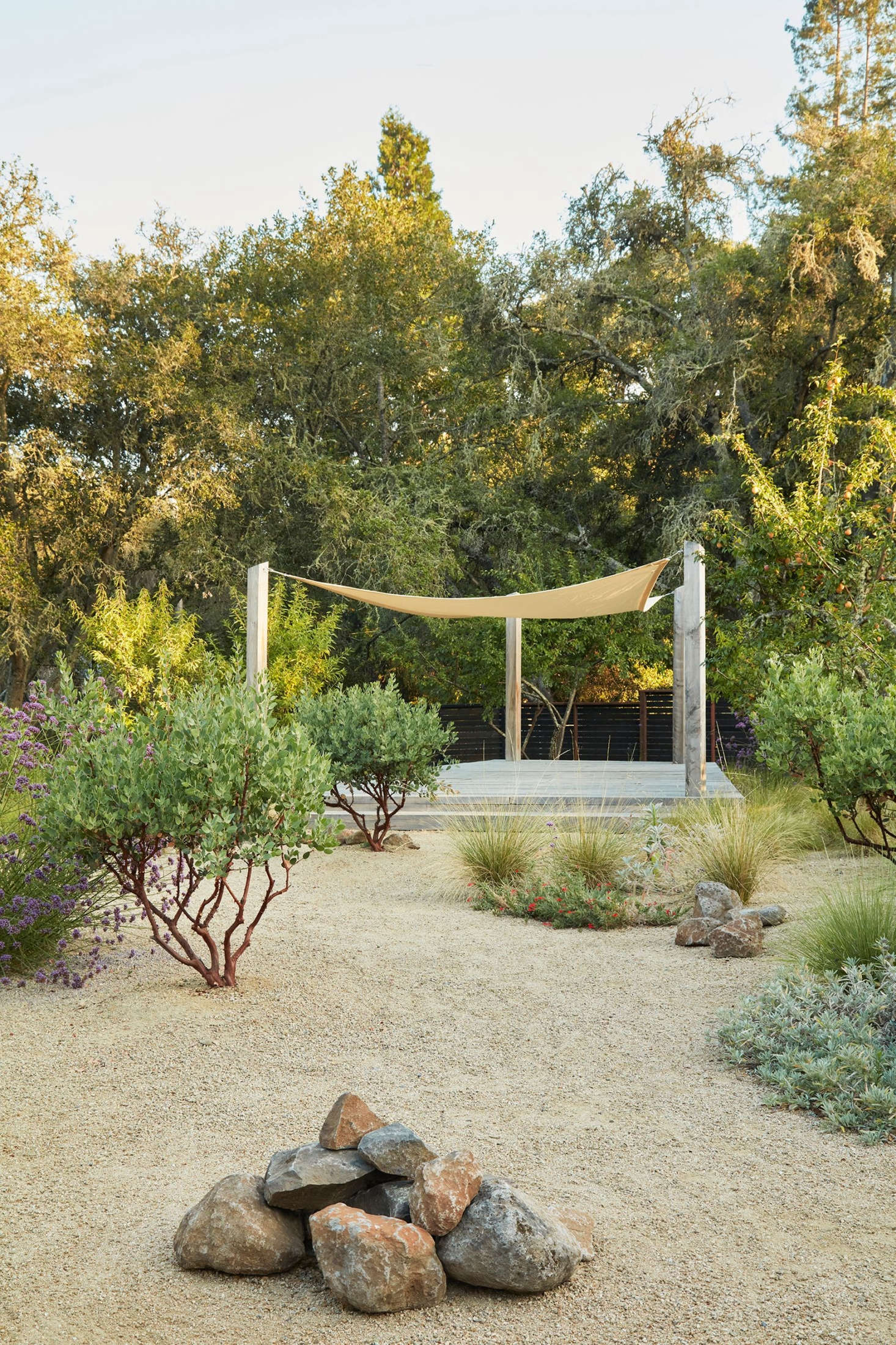 """One of the only challenges that Story cited with this project was with the shade shown above. """"We tried using nursery shade cloth as an alternative to the typical shade sail but it didn't hold up, so we had to pivot on that experiment.&#8"""