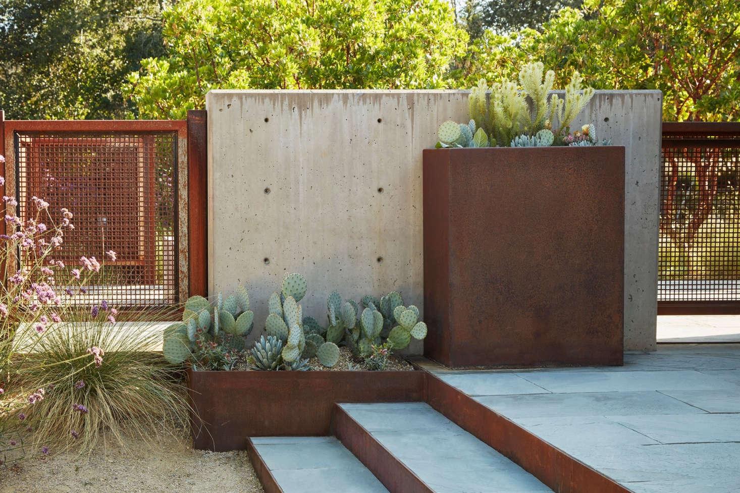 Custom steel planters fabricated by Wyatt Studio.