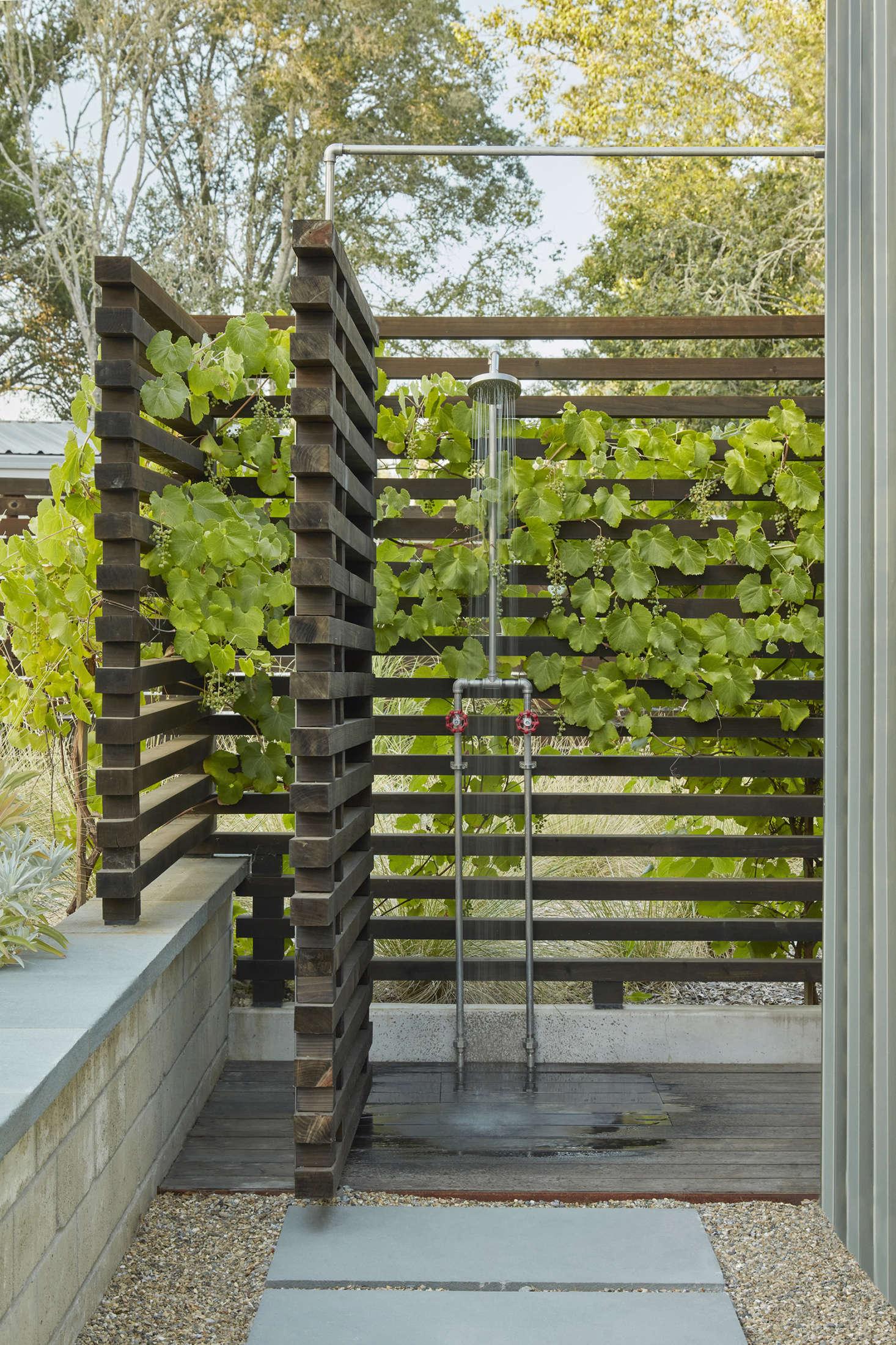 The outdoor shower features native grape vines peeking through.