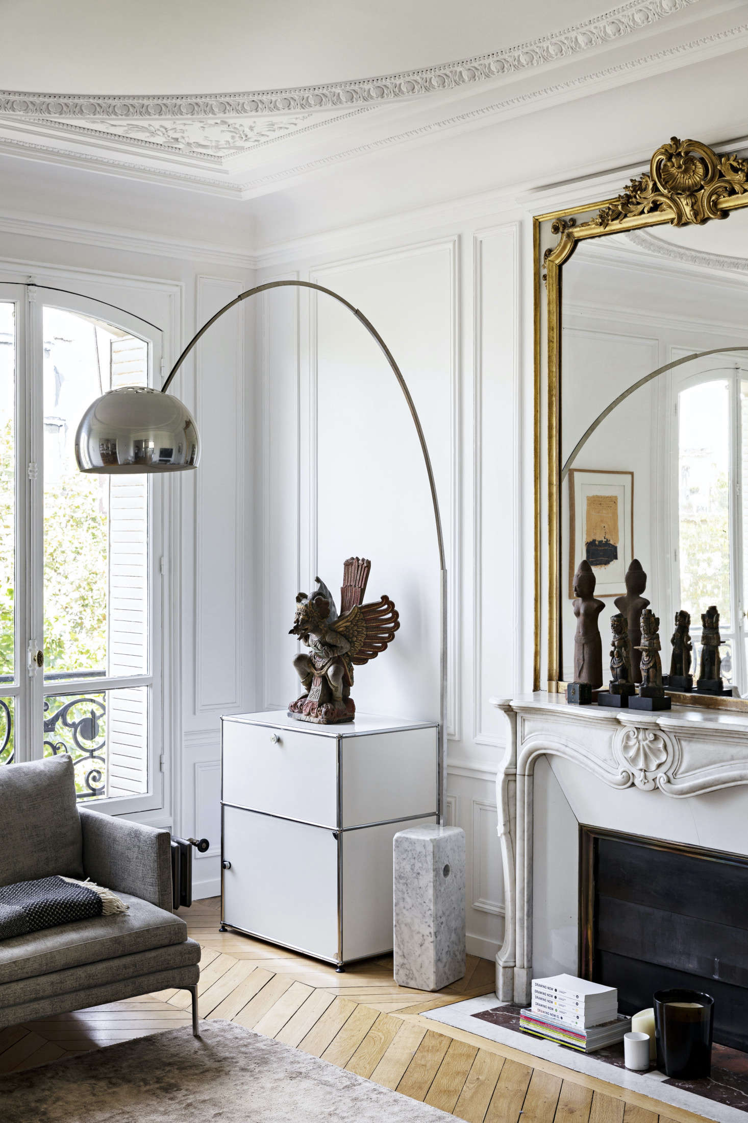 One of our favorite iconic storage pieces, the USM Haller cabinet anchors a corner of a classic Parisian apartment. Photograph by Yann Deret, courtesy of Olivia Massimi, from Sophisticated Charm: An Elegant and Artistic Paris Apartment.