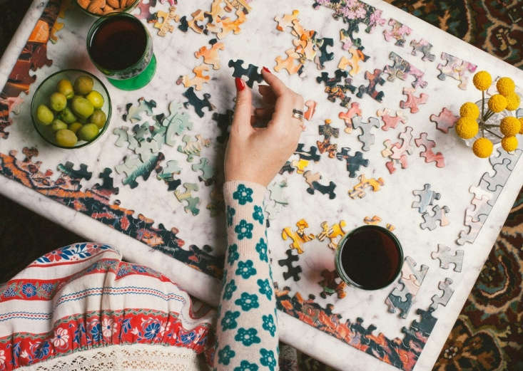 """From Remodelista Gift Guide :  Outstanding Jigsaw Puzzles: Piecework, a newish company (its tagline is """"puzzles for president"""") makes """"bizarrely beautiful"""" still-life photographs-turned-puzzles, says Meredith. Pictured here is the aptly named loading="""