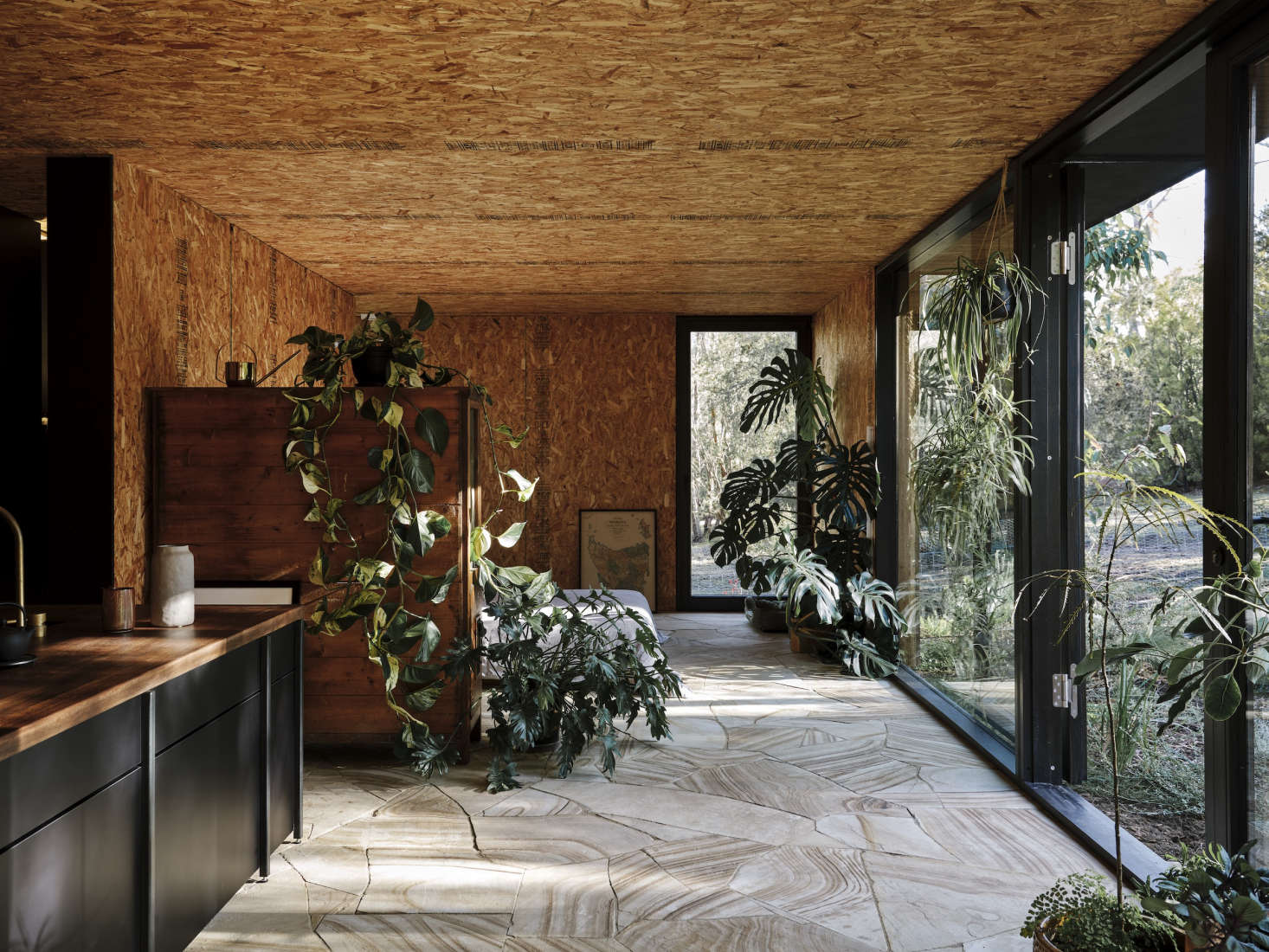 There are no colors in this small cabin—other than abundant greenery. Photograph byAdam Gibson, courtesy ofArchier, from The New Starter House? An Architect Designs a Home That Can Move With Its Owners.