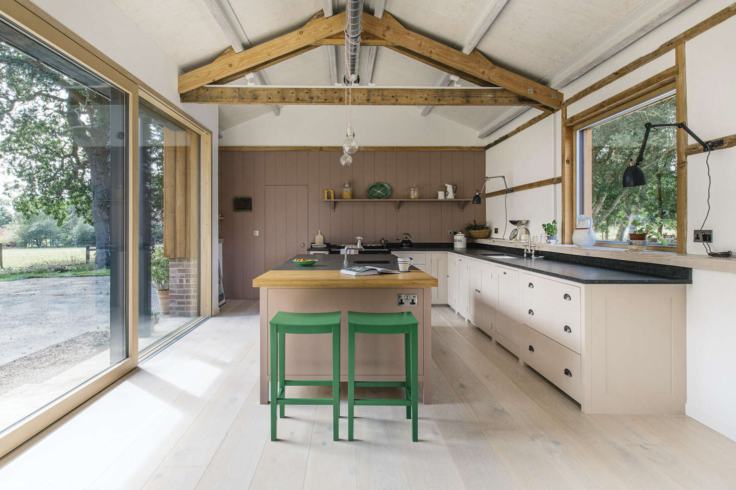 A sophisticated take on the classic pink and green pairing. See Kitchen of the Week: Calamine Pinks in a Converted Barn Kitchen by Plain English. Photograph courtesy of Plain English.