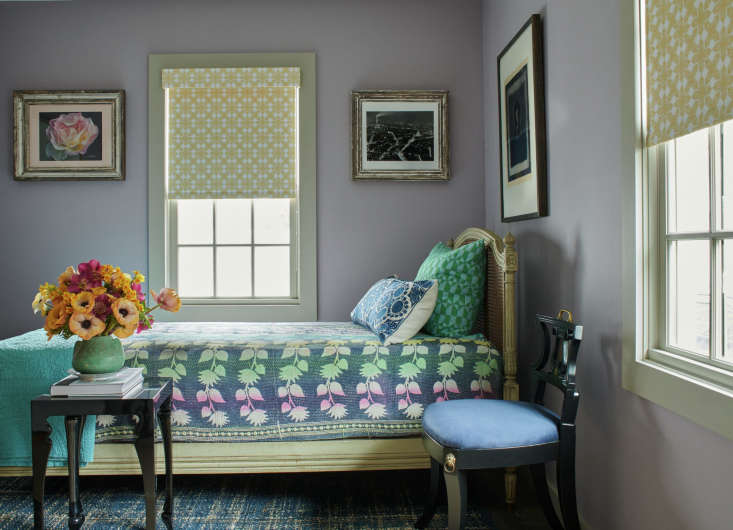 The Shade Store now carries Sheila Bridges-designed prints, including her iconic Harlem Toile de Jouy. Pictured is her own bedroom, featuring shades made in her Porringer pattern. See Harlem Toile de Jouy (and More) by Sheila Bridges for The Shade Store.