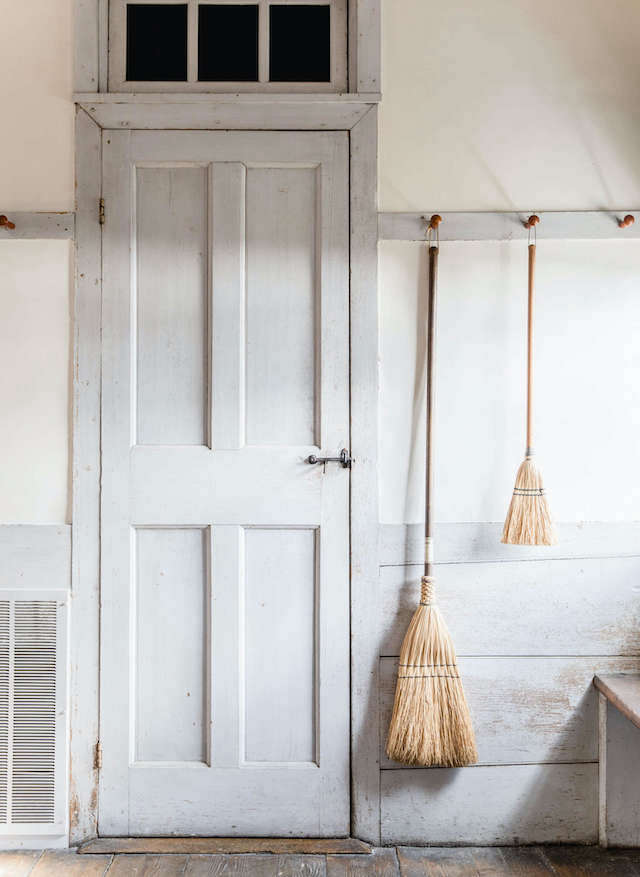 See In the Dwelling House: \16 Design Ideas to Steal from the Shakers for some easy DIY inspiration, like this painted peg rail. Photograph by Erin Little for Remodelista.