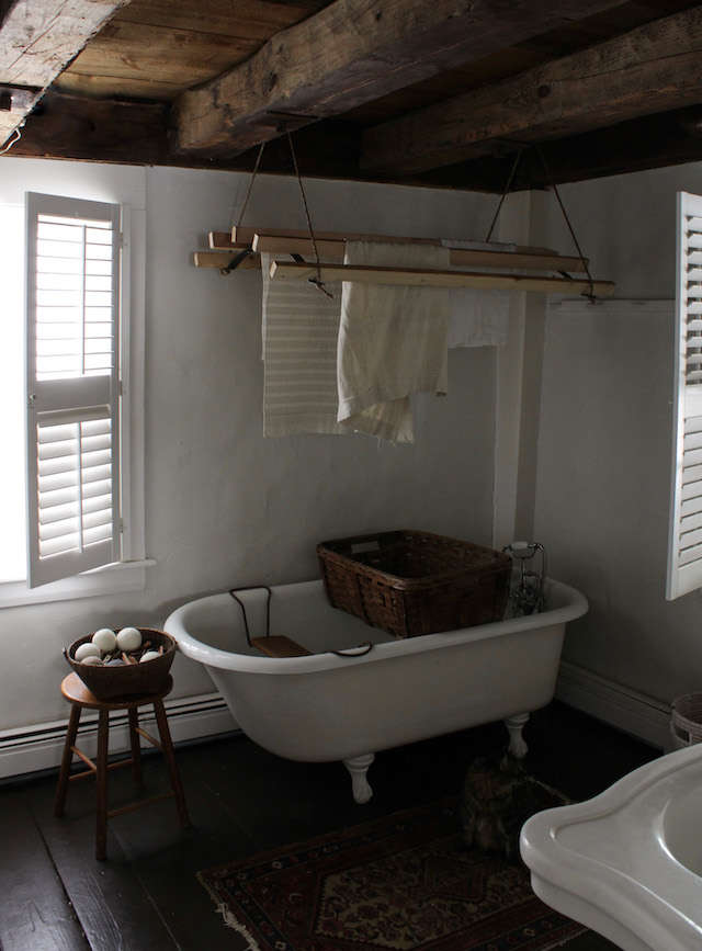 Bess Piergrossi shares her instructions for constructing this rustic, DIY version of deVOL&#8\2\17;s ceiling-hung laundry rack. Photograph by Bess Piergrossi, from DIY: A Clothes-Drying Rack Made the Old-Fashioned Way on a Maine Farm.