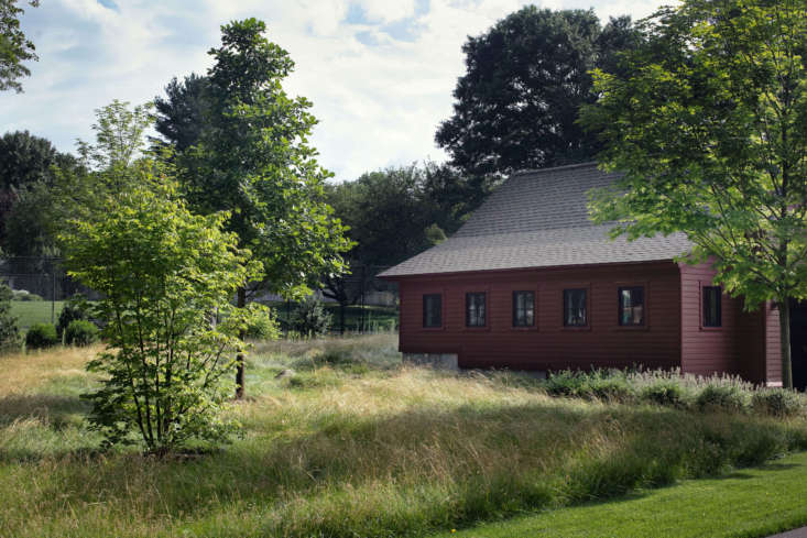 The garage, designed to look like a barn-like outbuilding, is surrounded by a fescue and low-grow wildflower meadow. In the foreground is a Cornus kousa, complementing a large Cornus kousa that was transplanted from the original landscape. Trees in the background are an Acer saccharum and a Quercus alba.
