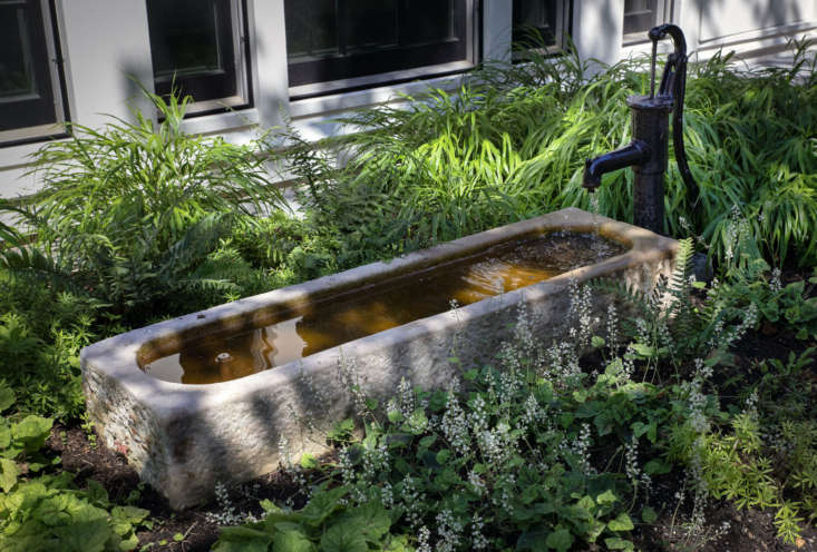 A reclaimed trough was repurposed as a water fountain with a spigot to create a soft sound in the courtyard. The fountain, purchased from New England Garden Company, is surrounded by Hakonechioa macra, Gallium odoratum and Tiarella.