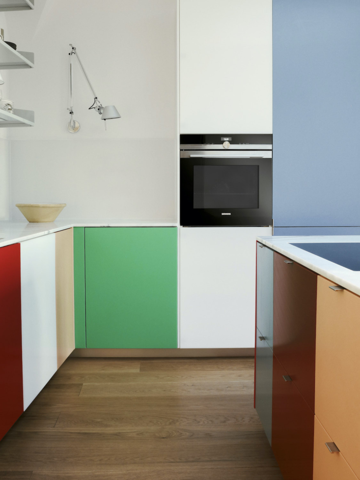 A bright and bold kitchen thanks to a new line of colorful cabinet fronts from Reform. See Kitchen of the Week: Base Cabinets by Ikea, Chic and Colorful Doors by Reform.