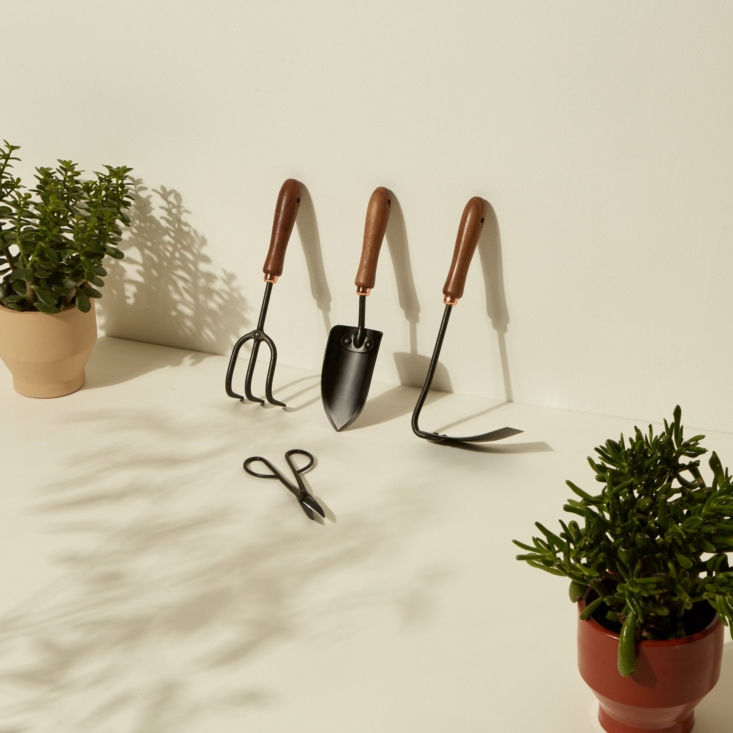 The Gardening Tool Set (\$90) from certified B-Corp Barebones includes a spade, a cultivator, a square hoe, and a pair of shears, all made from durable, made-to-last walnut and stainless steel.