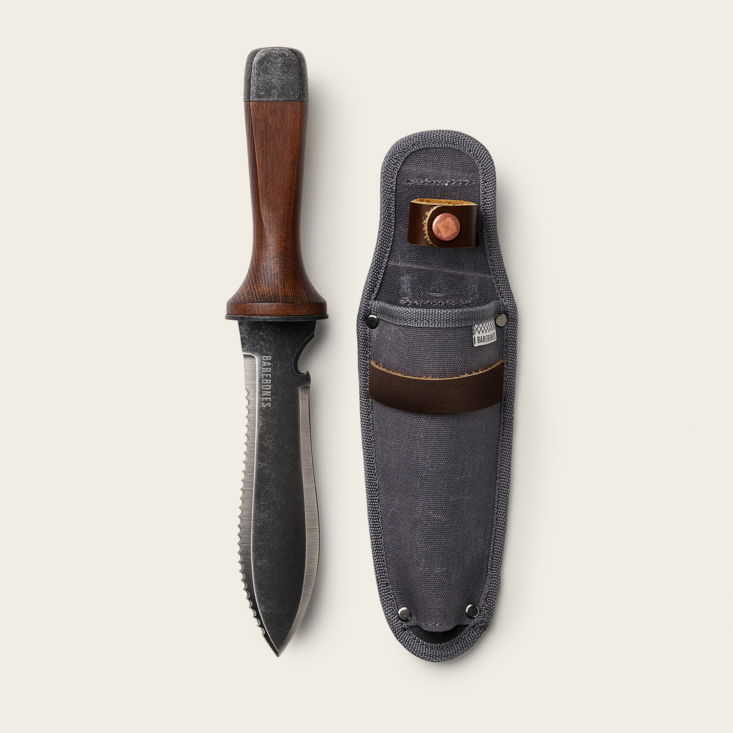 The Hori Hori Ultimate & Sheath (\$55), also by Barebones, is a handy all-in-one tool for camping, gardening, and outdoor explorations. Inspired by traditional Japanese gardening knives, it includes a double-edged stainless-steel blade, a flat base that doubles as a hammer, and a hook blade for opening bottles and comes with a waxed-canvas sheath.